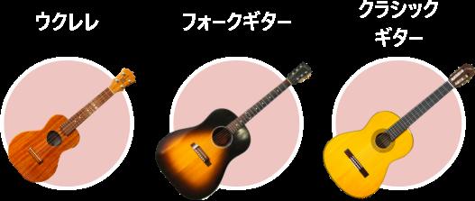 ウクレレ・フォークギター・クラシックギター